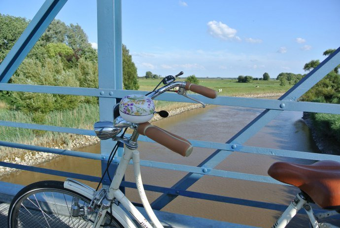 View from the Amdorf bridge in the foreground a bicycle