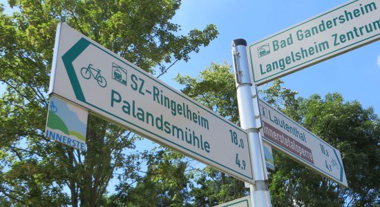 Bike signpost on the Innerste Cycle Path