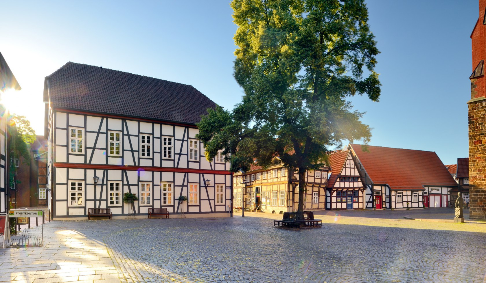 Market place in Nienburg with half-timbered houses
