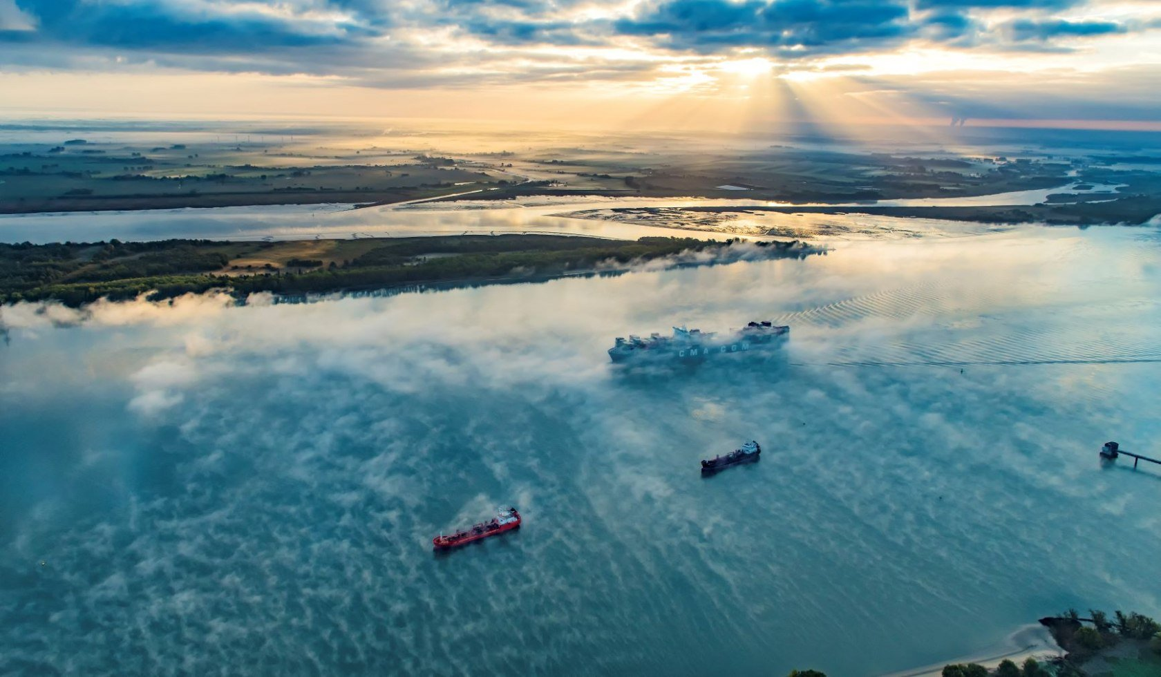 Container ships on the Elbe aerial photograph
