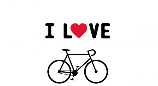 Drawing of a bicycle with a heart over it