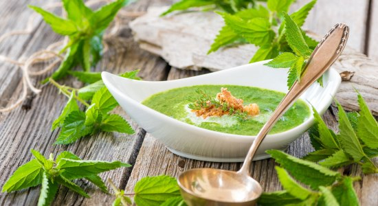 Nettle soup garnished with fresh nettles