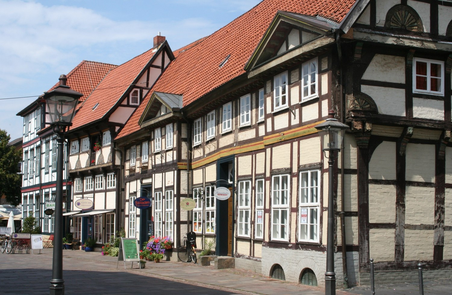 The beautiful half-timbered houses in the old town of Nienburg.